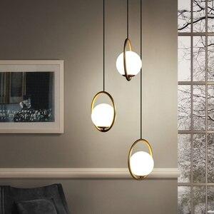 Image 4 - נורדי זכוכית כדור תליון אורות מודרני Industriel מנורת תליית מנורה זוהר יוקרה Glod אמנות מטבח מלון חישוק דקו תליון מנורה