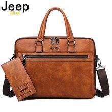 JEEP BULUO marka erkekler İş evrak çantası 13.3 inç dizüstü bilgisayar için A4 dosya yeni stil omuz seyahat çantası adam için yüksek kaliteli