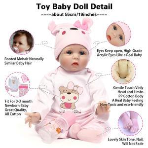 Image 2 - NPK 48/55cm Baby Silicone Dolls Reborn Dolls Simulation Baby Dolls Handmade Reborn Baby Cotton Toy Toddler Soft Dolls for Kids