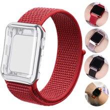 лучшая цена Sport loop+case Strap for Apple watch band 42mm 38mm nylon correa iwatch 44mm 40mm series 3 2 1 for Apple watch 4 accessories