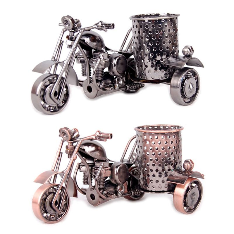 Creative Motorcycle Metal Iron Pen Pencil Holder Desktop Storage Organizer Brush Pot Decoration