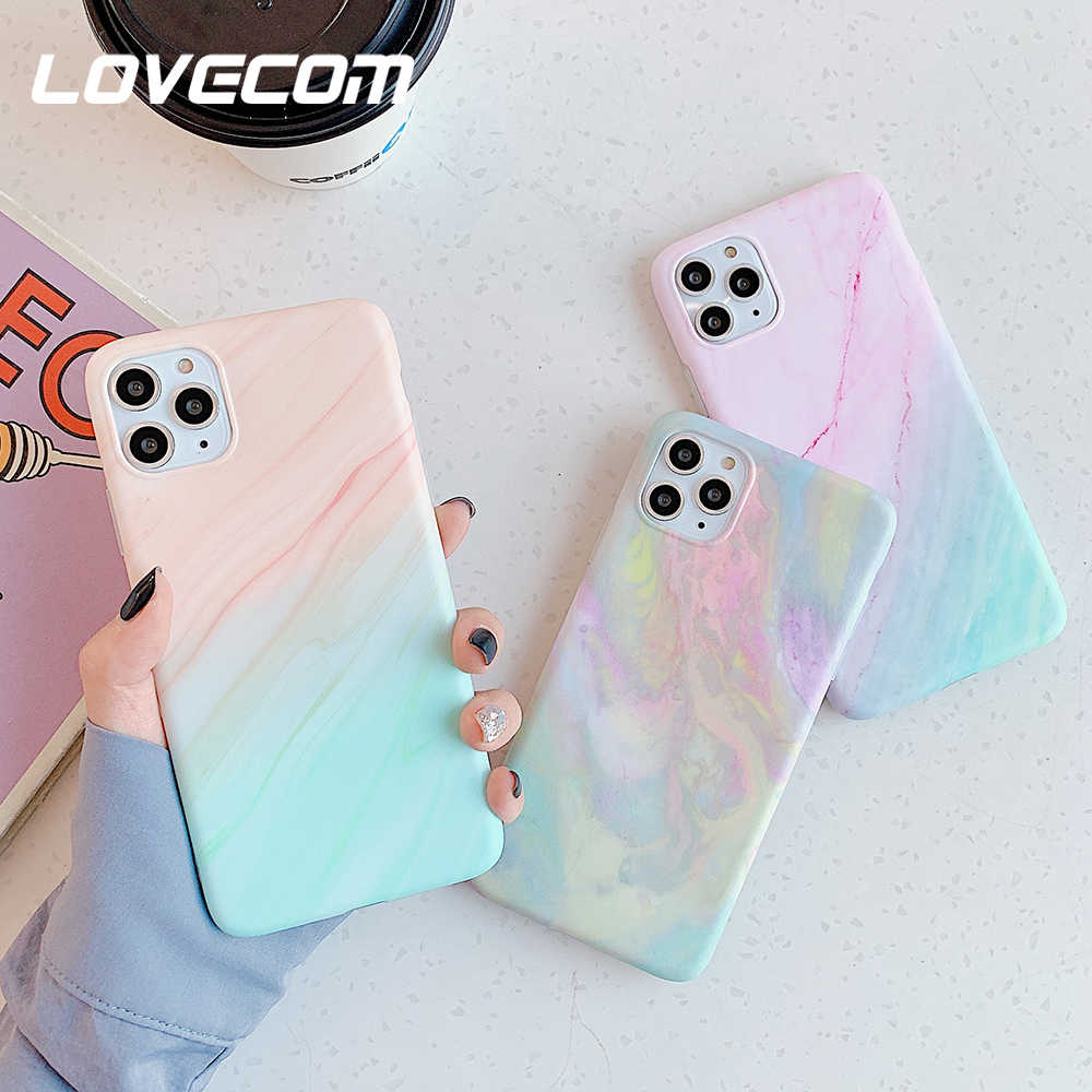 LOVECOM VINTAGE Gradualสีหินอ่อนโทรศัพท์กรณีสำหรับiPhone 11 PRO MAX XR XS MAX 6 6S 7 8 plus X Matte Soft IMDปกหลังCoque