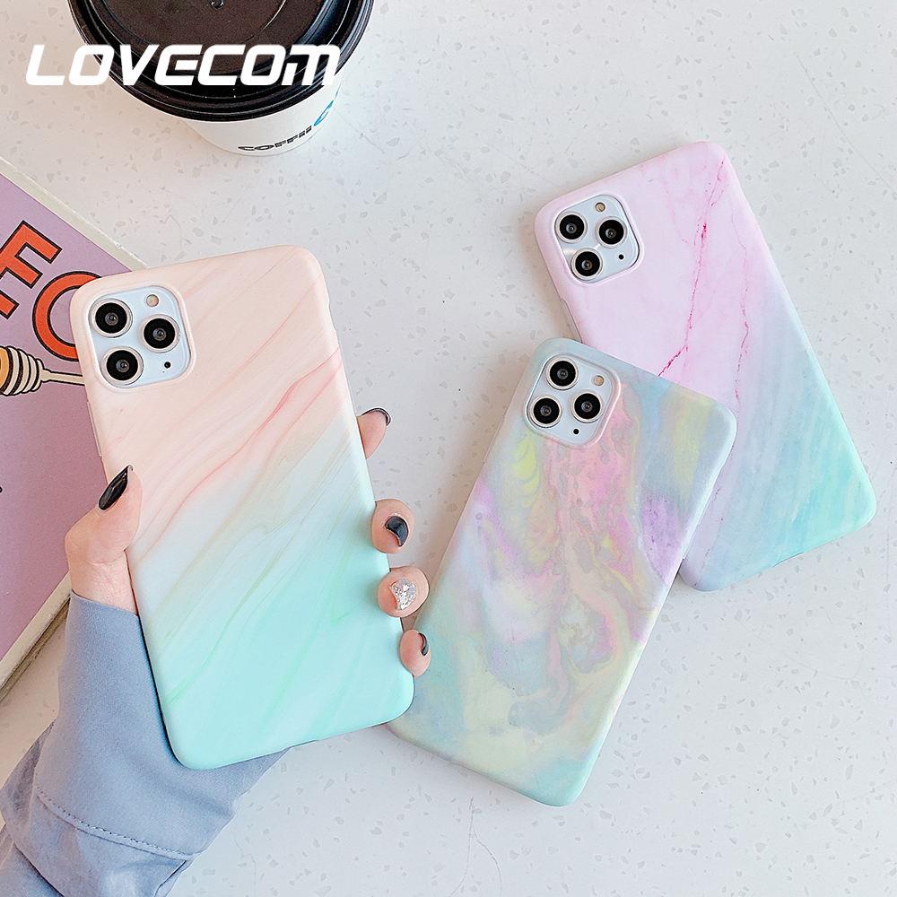 LOVECOM Vintage Gradual Color Marble Phone Case For IPhone 11 Pro Max XR XS Max 6 6S 7 8 Plus X Matte Soft IMD Back Cover Coque