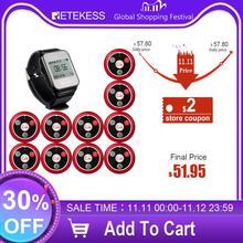 Беспроводная система пейджера для официанта Retekess TD108 с приемником и кнопкой вызова 10 T117 для обслуживания клиентов