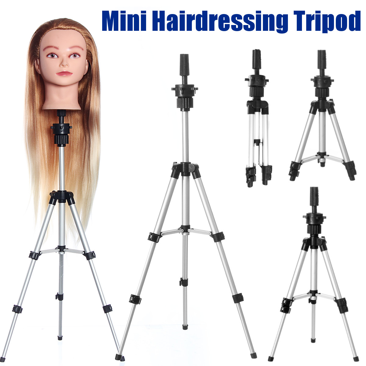 Adjustable Tripod Stand Holder Mannequin Head Tripod Hairdressing Training Head Holder Hair Stand Hair Trainning Tool