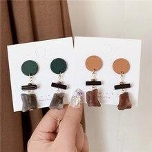 South Korea Retro Irregular Wood Earrings Elegant For Female Simple Cool Long Ear Stud Womens