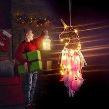 Atrapasueños de unicornio LED, decoración colgante para el hogar, atrapasueños, decoración de flores, fiesta de boda, obsequios para los invitados, suministros de cumpleaños