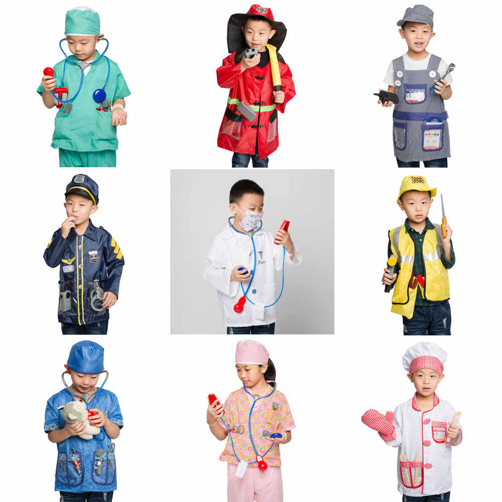 Umorden Kids Child Doctor Nurse Firefighter Astronaut Costume Occupation Game Role Play Kit Set for Boys Girls Party Fancy Dress