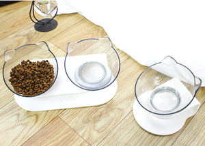 Image 2 - Youpin แมวชามโปร่งใสชามคู่ชามอาหารแมวชามสุนัขชามอาหารสุนัขชามเอียงปากปกป้องกระดูกสันหลัง