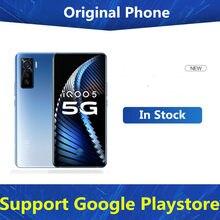 Em estoque vivo iqoo 5 5g tela do telefone inteligente impressão digital 55w carregador snapdragon 865 face id 6.56