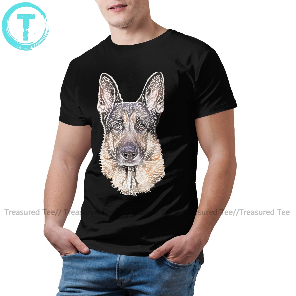 German Shepherd T Shirt German Shepherd Sketched <font><b>Dog</b></font> <font><b>Art</b></font> T-Shirt Short Sleeve Beach Tee Shirt Cotton <font><b>Tshirt</b></font> image