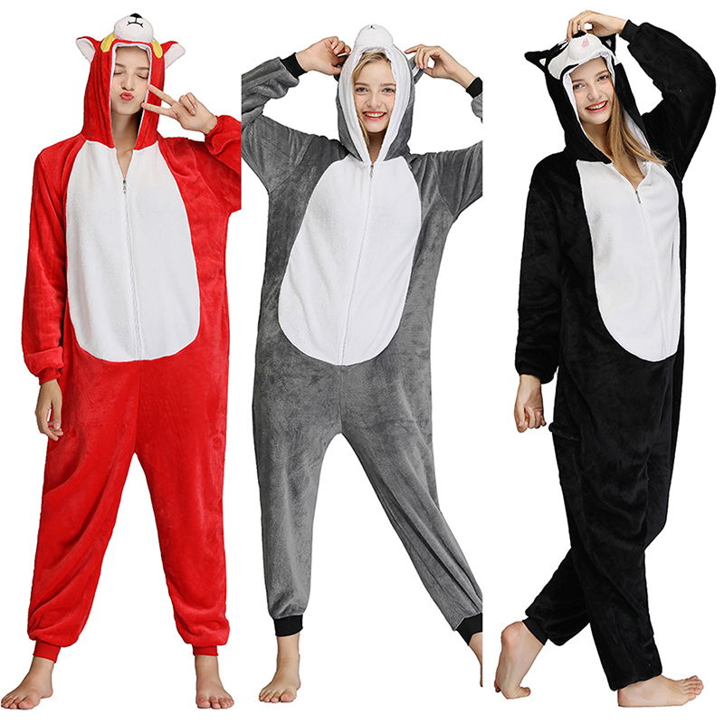 Kigurumi Onesie Husky Dog Adult Man Women Animal Pajamas Suit Flannel Warm Soft Sleepwear Onepiece Winter Jumpsuit