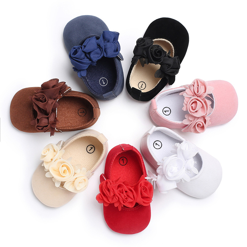 New Rose Flower Pink Princess Newborn Baby Girl Shoes First Walkers Soft Cotton Anti Slip Toddler Shoes Solid Color Infant Shoes 1
