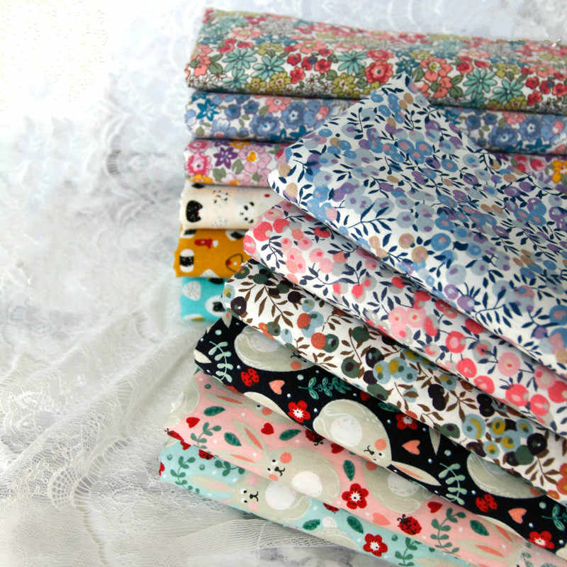145x50cm Pastoral floral Twill Cotton Fabric DIY Children's Wear Cloth Make Bedding Quilt Decoration Home 160-180g/m
