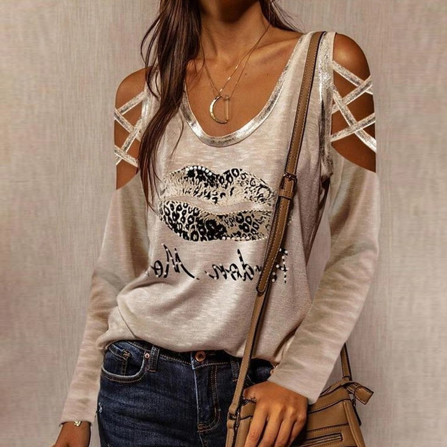 Sexy Hollow Out Long Sleeve Blouses Shirts Casual O-Neck Off Shoulder Pullover Tops Women Fashion New Lip Print Shirt Blusas 3XL 4