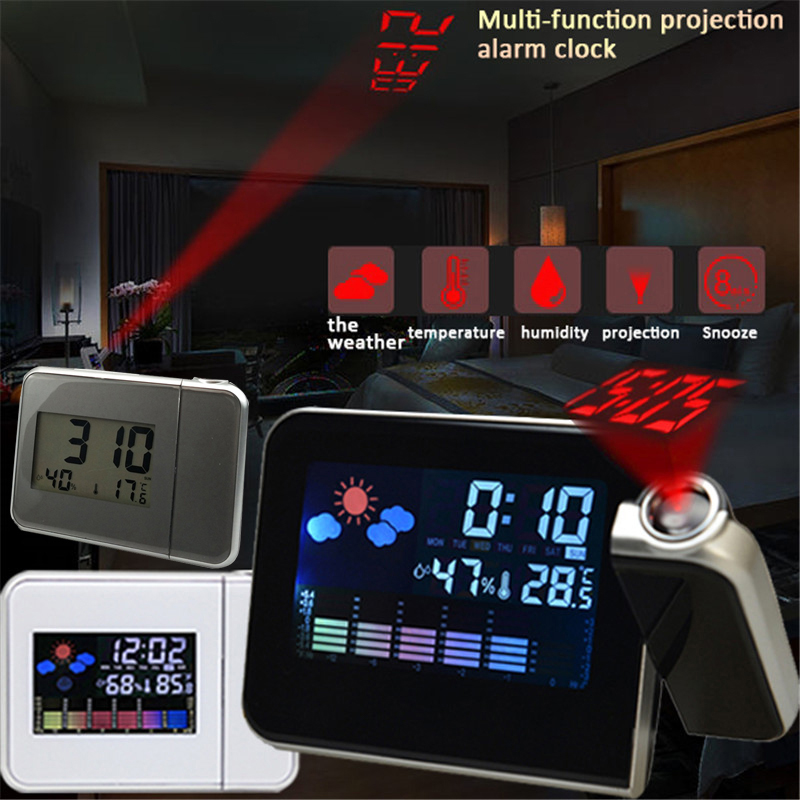 Projection Alarm Clock With Weather Station Thermometer Date Display Digital Clock USB Charger Snooze LED Projection