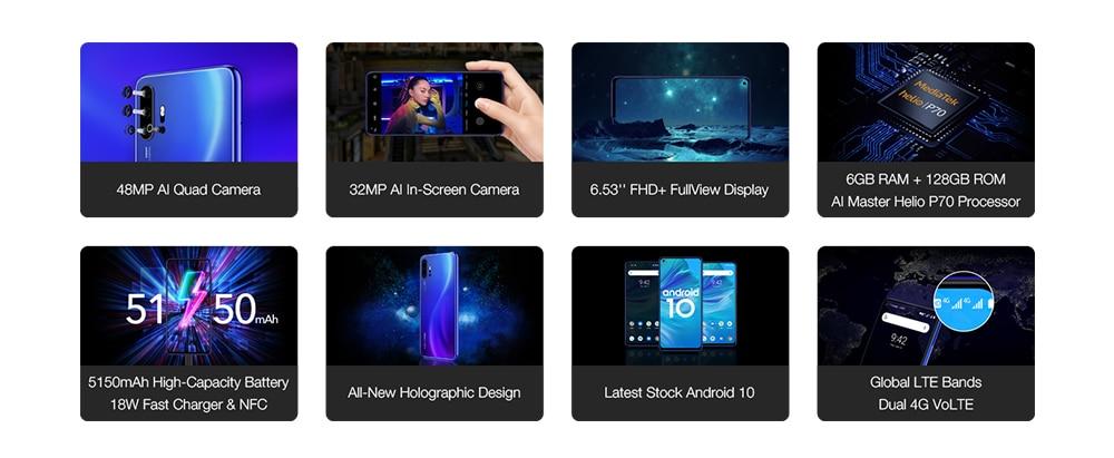 "H75b7c65b92b84e1091f35d28714bce54L Pre-sale UMIDIGI F2 Android 10 Global Version 6.53""FHD+6GB 128GB 48MP AI Quad Camera 32MP Selfie Helio P70 Cellphone 5150mAh NFC"