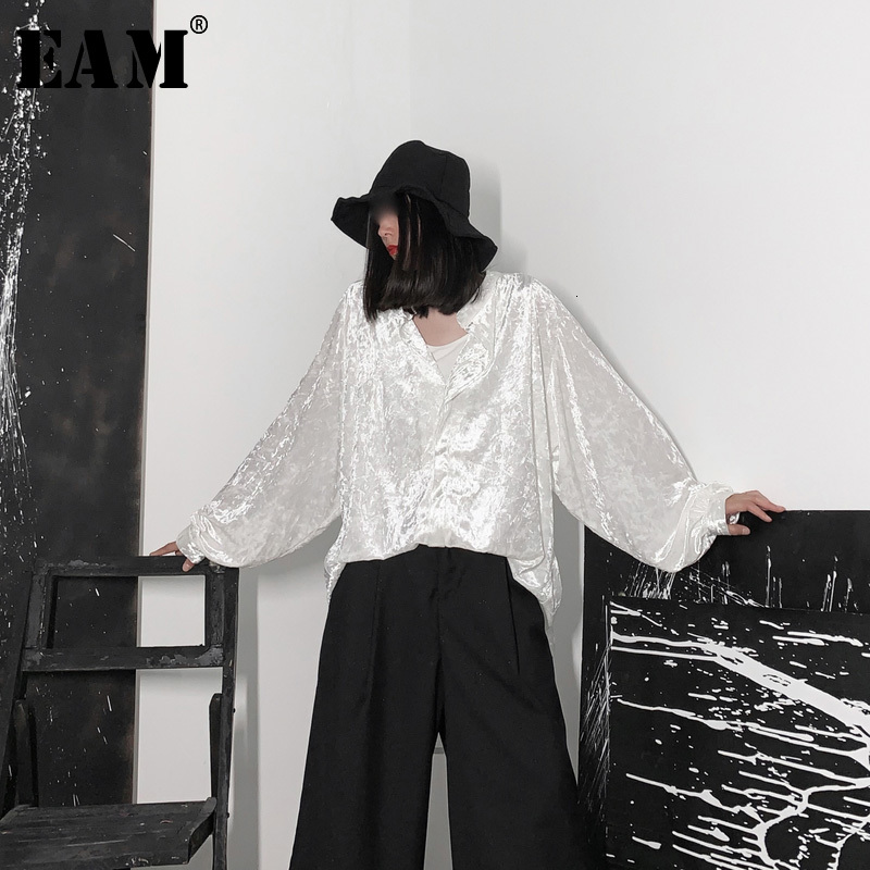 [EAM] Women Black Velvet Big Size Back Long Blouse New V-collar Long Sleeve Loose Fit Shirt Fashion Spring Autumn 2020 19A-a653