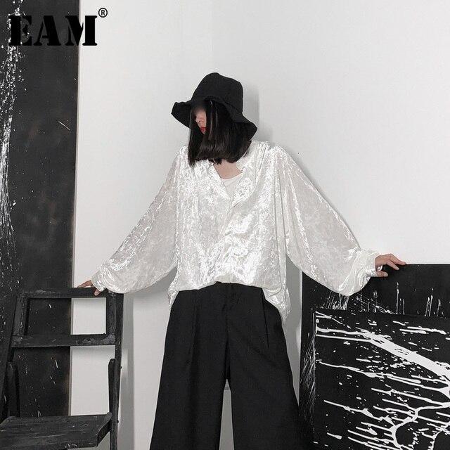 [EAM] 여성 블랙 벨벳 빅 사이즈 백 롱 블라우스 새로운 V 칼라 긴 소매 느슨한 맞춤 셔츠 패션 봄 가을 2020 19A a653