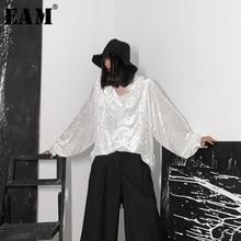 [EAM] Women Black Velvet Big Size Back Long Blouse New V collar Long Sleeve Loose Fit Shirt Fashion Spring Autumn 2020 19A a653