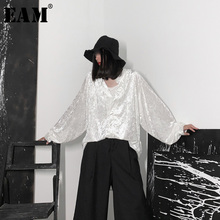 [EAM] blusa larga de terciopelo negro para primavera y otoño, camisa holgada de manga larga con cuello de pico para mujer, talla grande, 2020, 19A a653