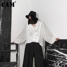 EAM chemisier longue en velours noir pour femme, chemise ample, grande taille, à manches longues et col V, mode printemps automne 2020