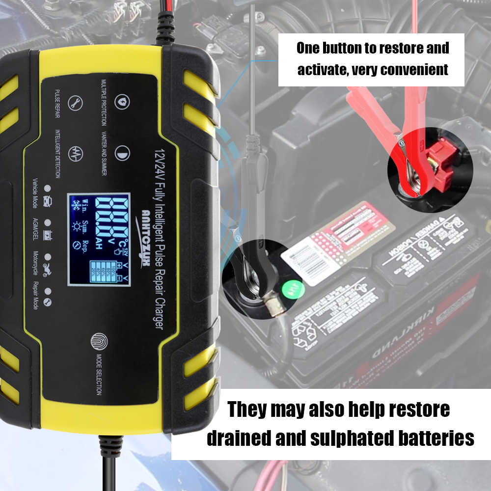 New Smart Battery Charger Portable 12V/24V Car Cell Charger Adapter Power Motorcycle Auto Cell Charger with Digital Display