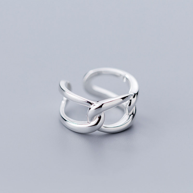 Real 925 Sterling Silver Geometric Hollow Link Opening Ring For Women Party MInimalist Fine Jewelry Punk Ring Accessories