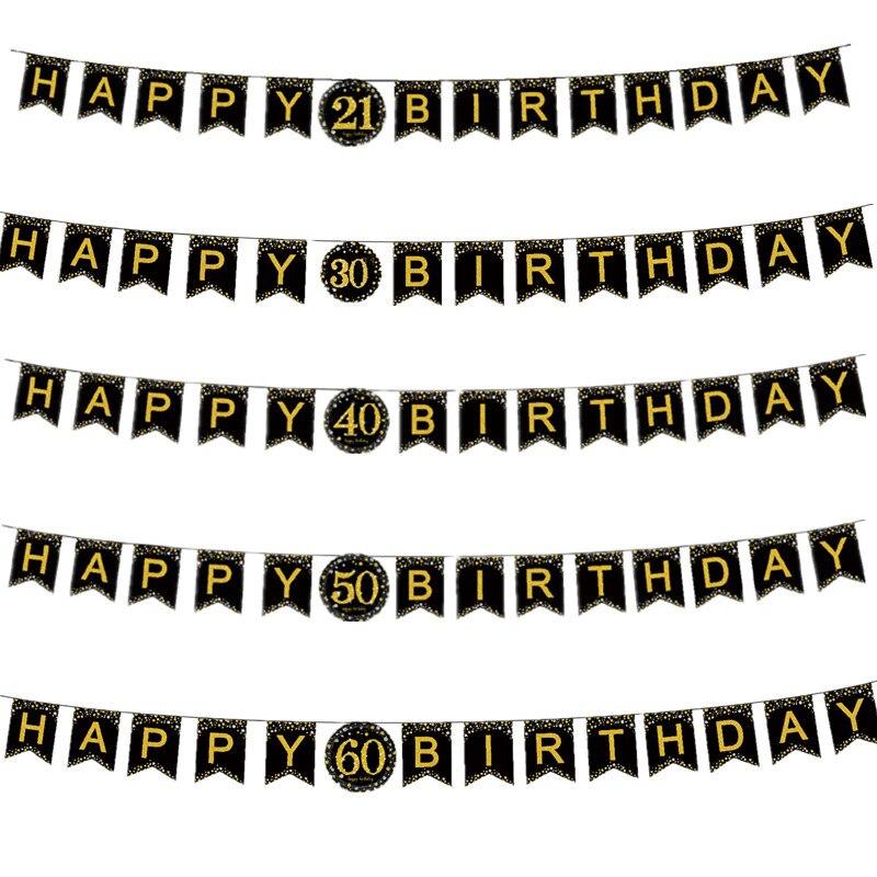 Ура до 30 лет 30th День рождения украшения для взрослых Бумага баннер гирлянда из букв 40 50 60 70 лет праздничные украшения