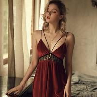 French Sexy Sleepwear Women Lace Hollow Sling Backless V-neck Nightdress Velvet Night Dress Lingerie Winter Nightgown 1