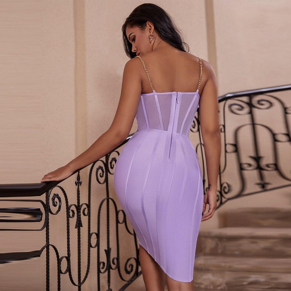Image 3 - Ocstrade Vestido Bandage Midi Dress Autumn Winter 2020 New Women  Neon Purple Bandage Dress Sleeveless Bodycon Club Party DressDresses