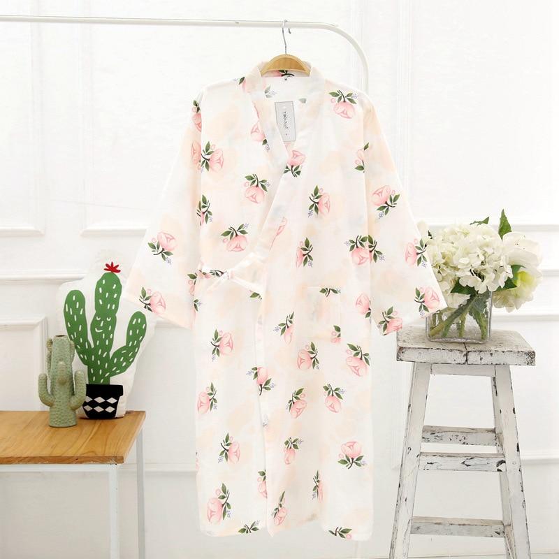 Women's Kimono Bathrobe Cotton Gauze Yukata Kapok Breathable Summer Pajamas Home Service Japanese Traditional Cardigan Sleepwear