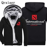 Men Jacket Coat Print DOTA 2 Coats Boy Game Souvenir Sweatshirt Hooded Zipper Cashmere Cotton Fleece Thick Hoodie Winter Coat