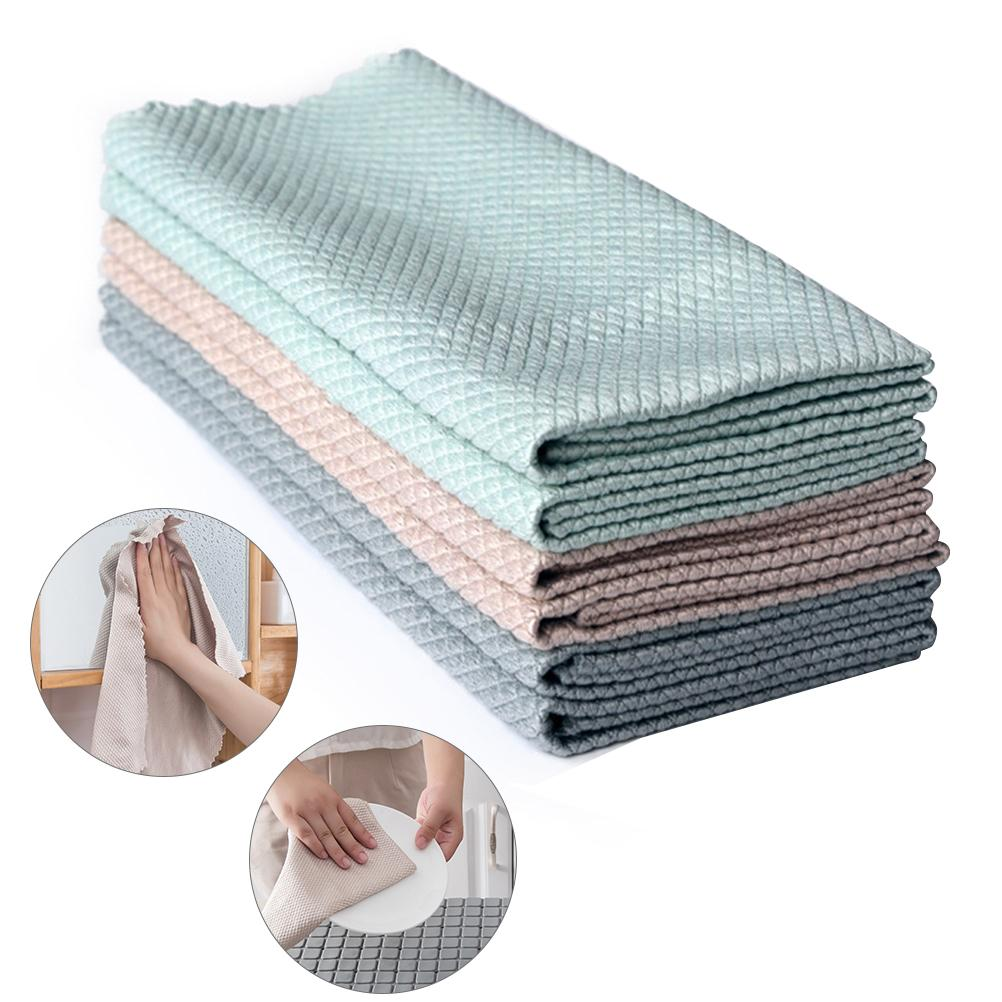 3/5pc Efficient Microfiber Fish Scale Wipe Cloth Anti grease Wiping Rag Super Absorbent Home Washing Dish Kitchen Cleaning Towel