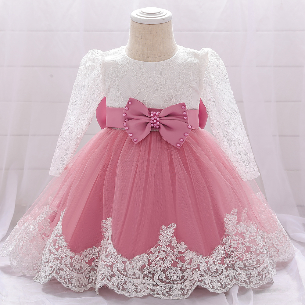 Newborn Girl Infant Baby Birthday Wedding Party Dress Ball Gown Princess  lace up long sleeve Front Bow Kids Girl Clothes