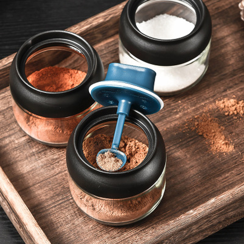 Moisture-proof Glass Spice Jars Seasoning Bottle Honey Pots Oil Bottle Multifunction Spoon Lid Integrated Seasoning Organizer