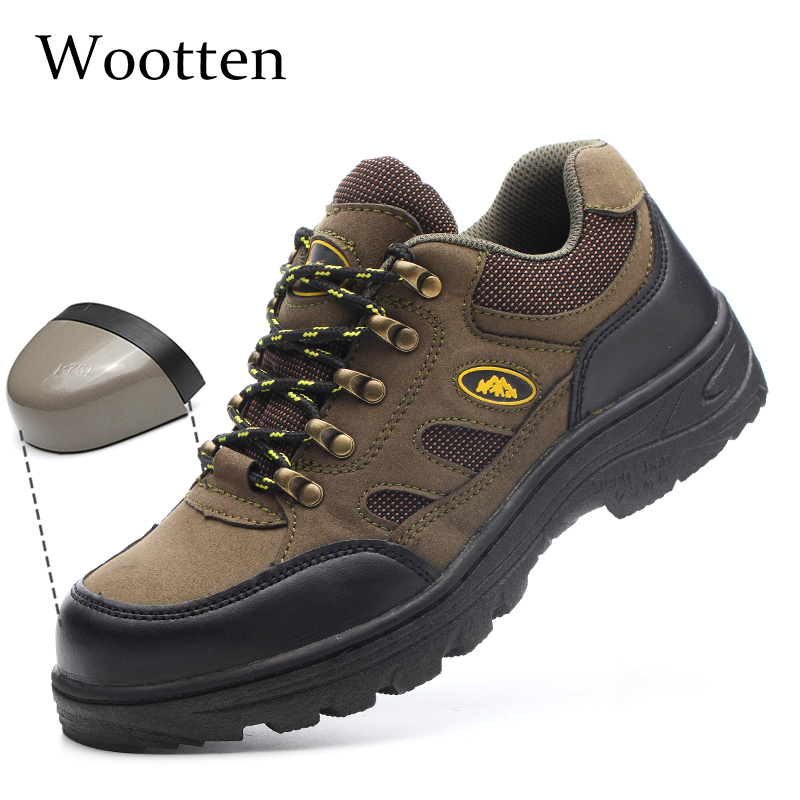 Plus Size Men Work Shoes Leather Stab-resistant Cap Toe Steel Construction Indestructible Outdoor Breathable Safety Shoes #YN801