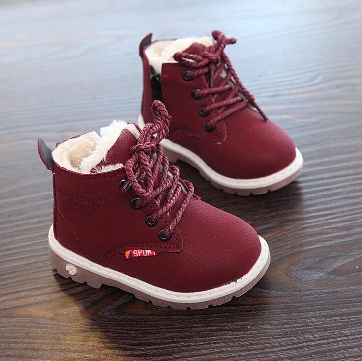 Top Selling Children Shoes Boys Fashion Boots Autumn Winter New Gentleman Leather Martin Boots Girls Flat Shoes