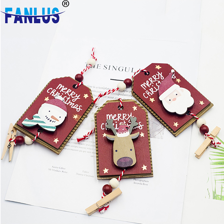 1pcs Wooden Santa Claus Painted Ornaments Decorations Trees For Home Trees Happy New Year Gifts Xmas Snowman Decoration Party