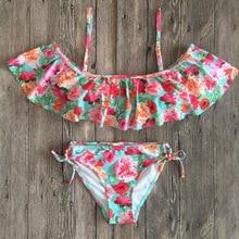 Ruffle Bikini Bandeau Print Bandage Swimsuit Women Off Shoulder Swimwear Female Backless Beachwear Brazilian Bikini Set ruffle detail backless swimsuit