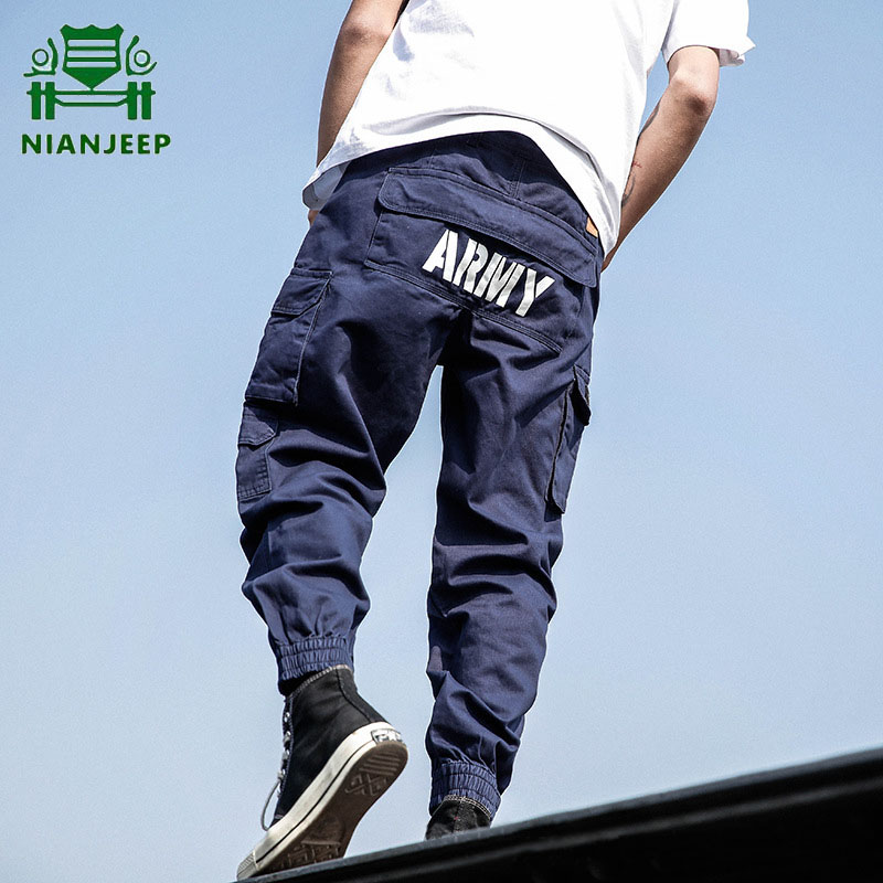 Men's Cotton Harem Pants Hip Hop Streetwear Joggers Men Multi-pocket Cargo Pant Harajuku Casual Sweatpants High Street Trousers