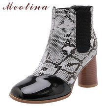 Meotina Winter Chelsea Boots Women Snake Print Round High Heel Ankle Boots Patent Leather Shoes Female Autumn Red Plus Size 3-12 cocoafoal woman genuine leather chelsea boots fashion sexy 9 cm high heel shoes black patent leather autumn winter boots 2018