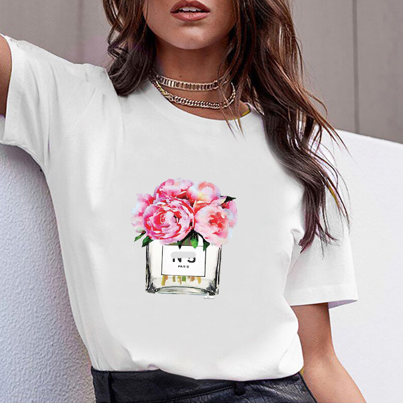 Women Print  Clothes Flower Perfume Bottle Sweet Short Sleeve Tshirt Printed Women Shirt T Female Top Casual Woman Tee