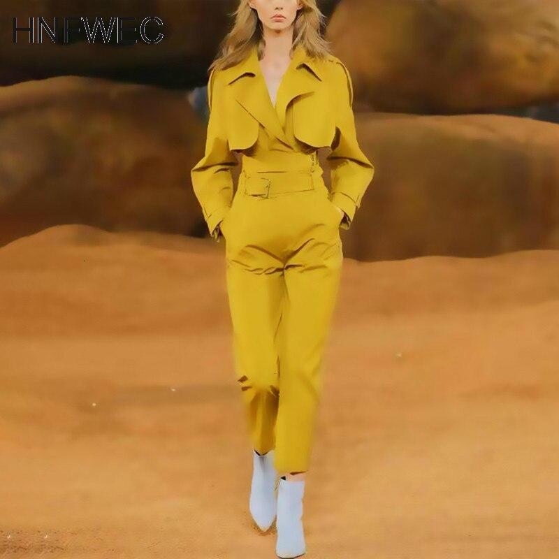 Korean Lace Up Two Piece Set Women Lapel Collar Long Sleeve Jacket High Waist Sashes Pants Suit Female Clothes 2020 New Y772