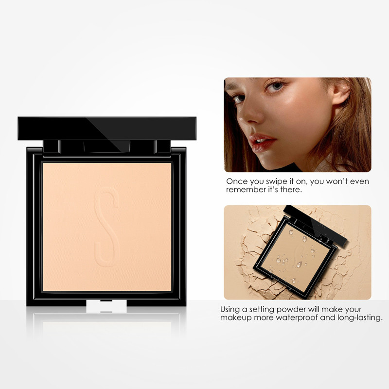 8 Colors Oil-control Long-Lasting Base Makeup Misty Matte Waterproof Sweat Proof Pressed Powder Wet and Dry Cosmetic Tools TSLM1