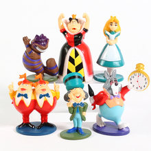 Anime dos desenhos animados alice pvc figura de ação brinquedos bonecas 6-9cm 6 pçs/set