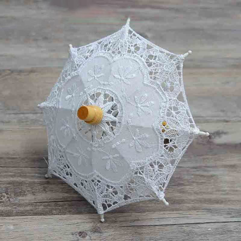 Newborn Baby Photography Props Embroidery Lace Umbrella Toy Infant Shooting Prop N1HB