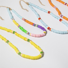 6 Color Unique  Polymer Clay Choker Necklace for Women Boho Rainbow Plastic Thin Disc Necklace Jewelry borosa 10pcs rainbow handmade bracelets polymer clay beads fimo slices plastic thin disc elastic string bracelet jewelry hd0090