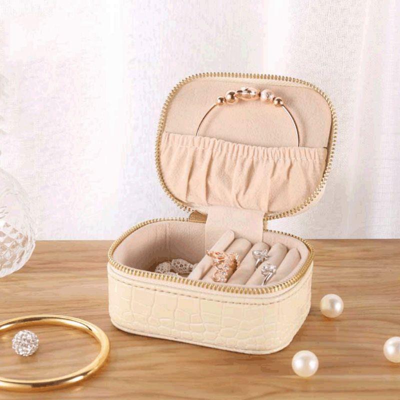 Простая шкатулка для ювелирных изделий из искусственной кожи, серьги, ожерелье, браслет для хранения, европейский стиль, портативный органа...