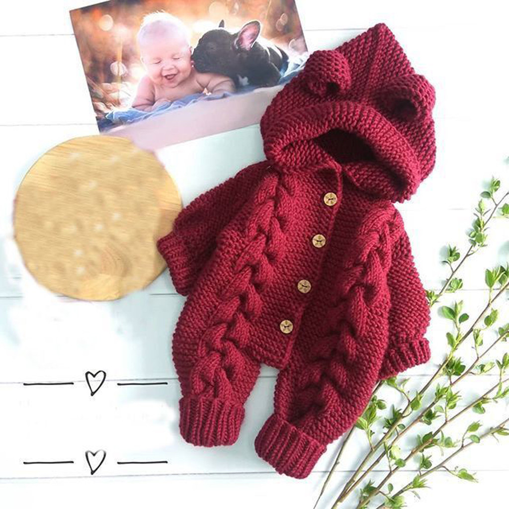 Newborn Baby Boys Girl Winter Romper Knitted Hooded Jumpsuit Coat Outfit Clothes